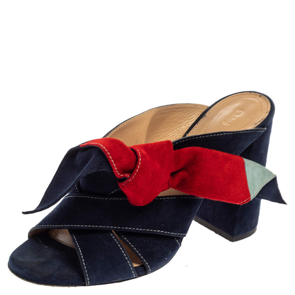 Chloe Multicolor Suede Naille Bow Sandals Size 38.5