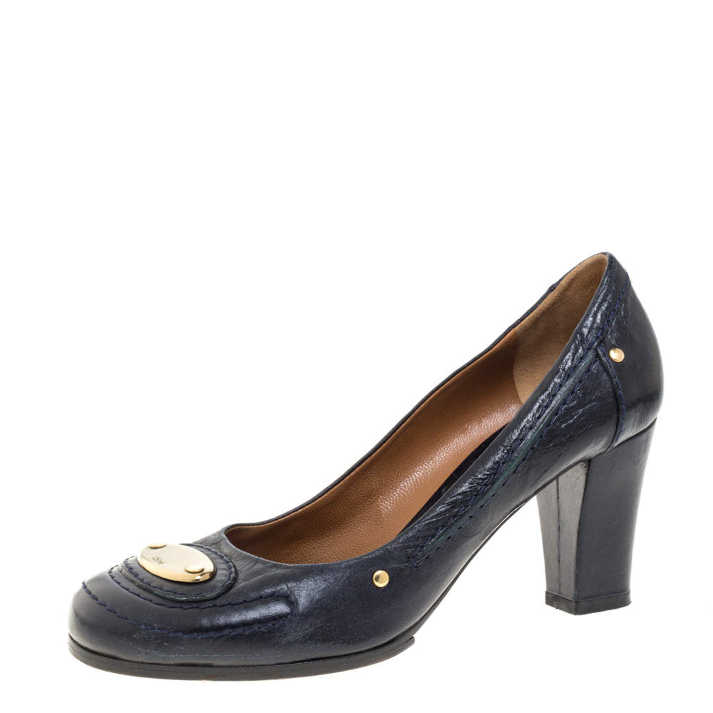 Chloe Blue Leather Block Heel Pumps Size 36