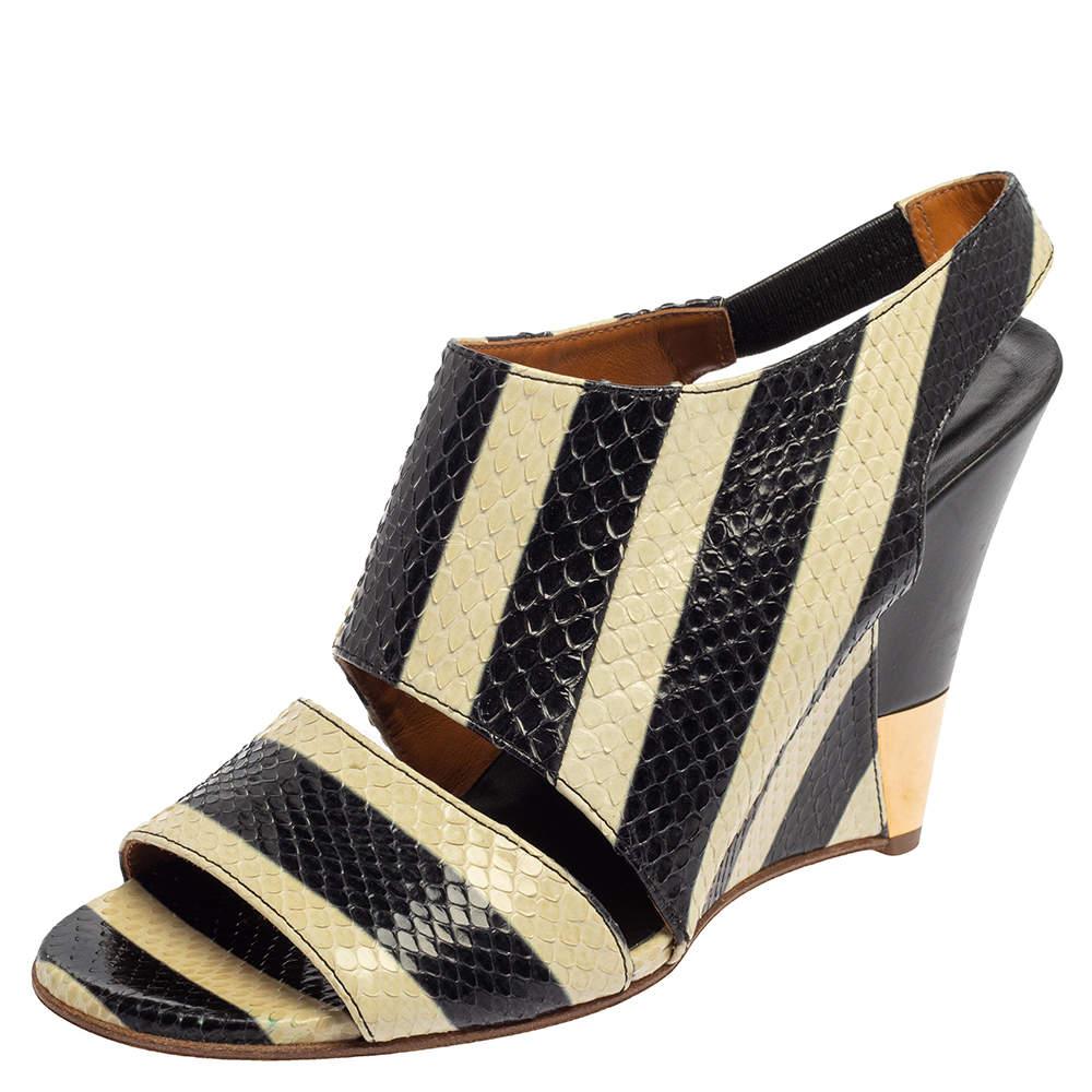 Chloe Cream/Black Striped Python Ayers Wedge Slingback Sandals Size 39