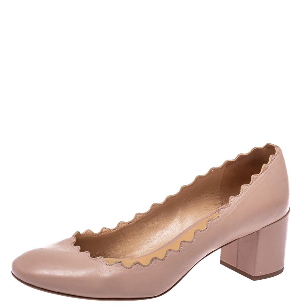 Chloe Beige Leather Lauren Scallop Trim Block Heel Pumps Size 37