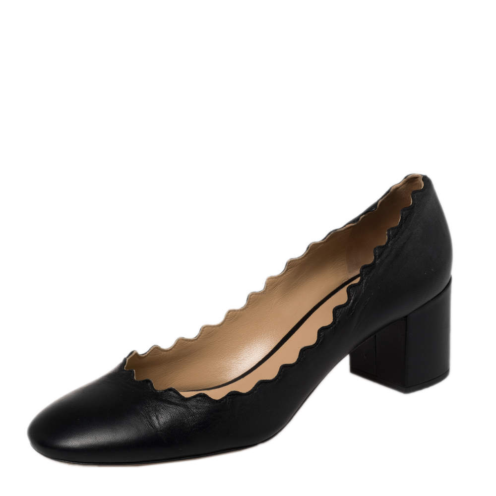 Chloe Black Leather Lauren Scallop Block Heel Pumps Size 37.5