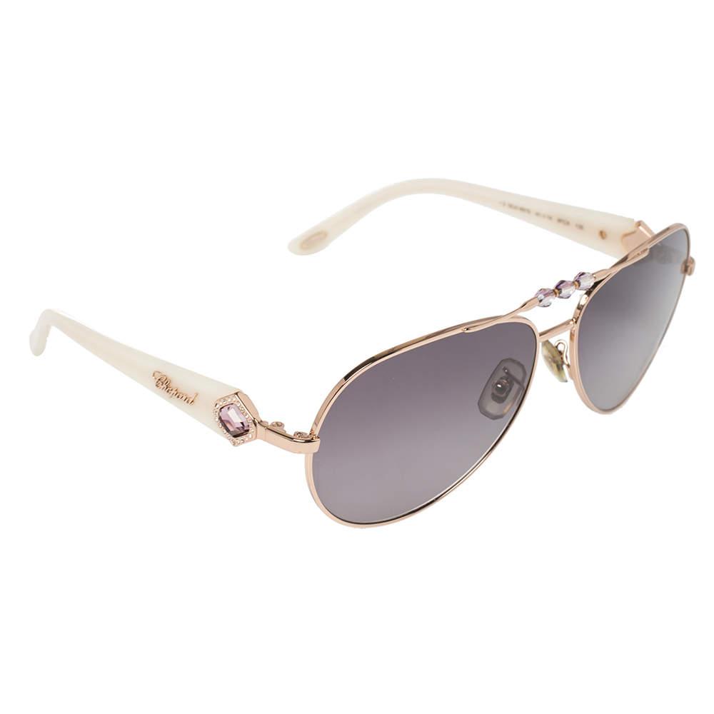 Chopard Rose Gold Tone / Smoke Gradient 997S Crystal Embellished Aviator Sunglasses