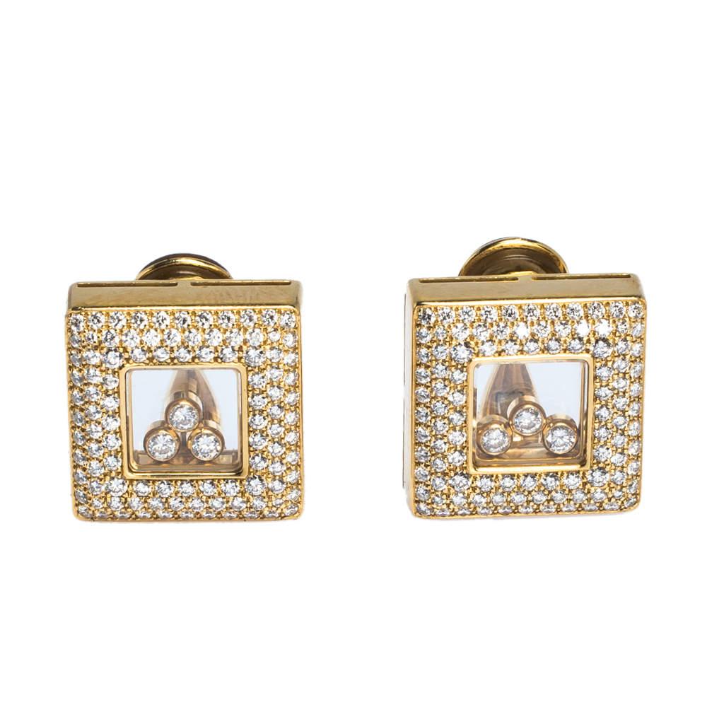 Chopard Happy Diamonds 18K Yellow Gold Square Earrings