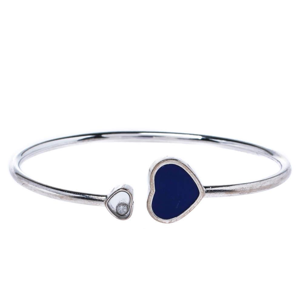 Chopard Happy Diamond Hearts Lapis Lazuli 18K White Gold Bracelet S