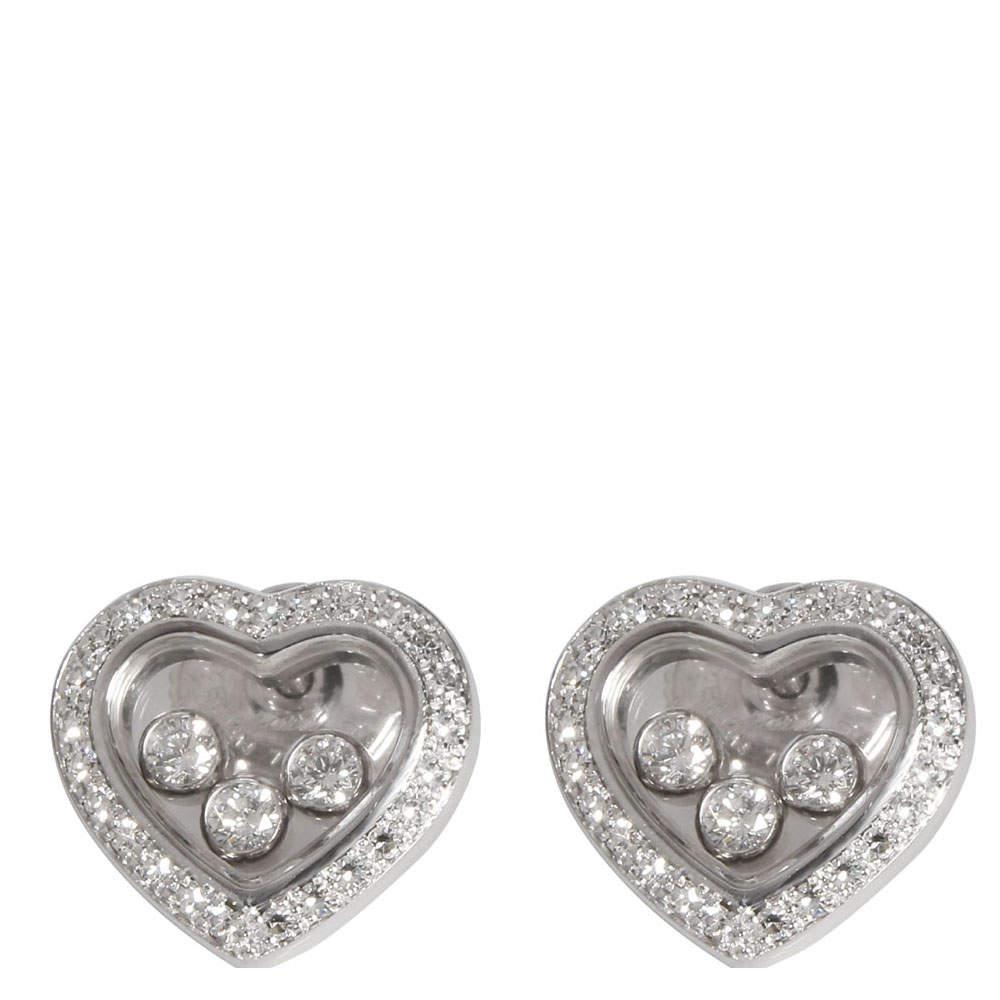 Chopard 18K White Gold Happy 0.70 CTW Diamonds Icons Heart Earrings