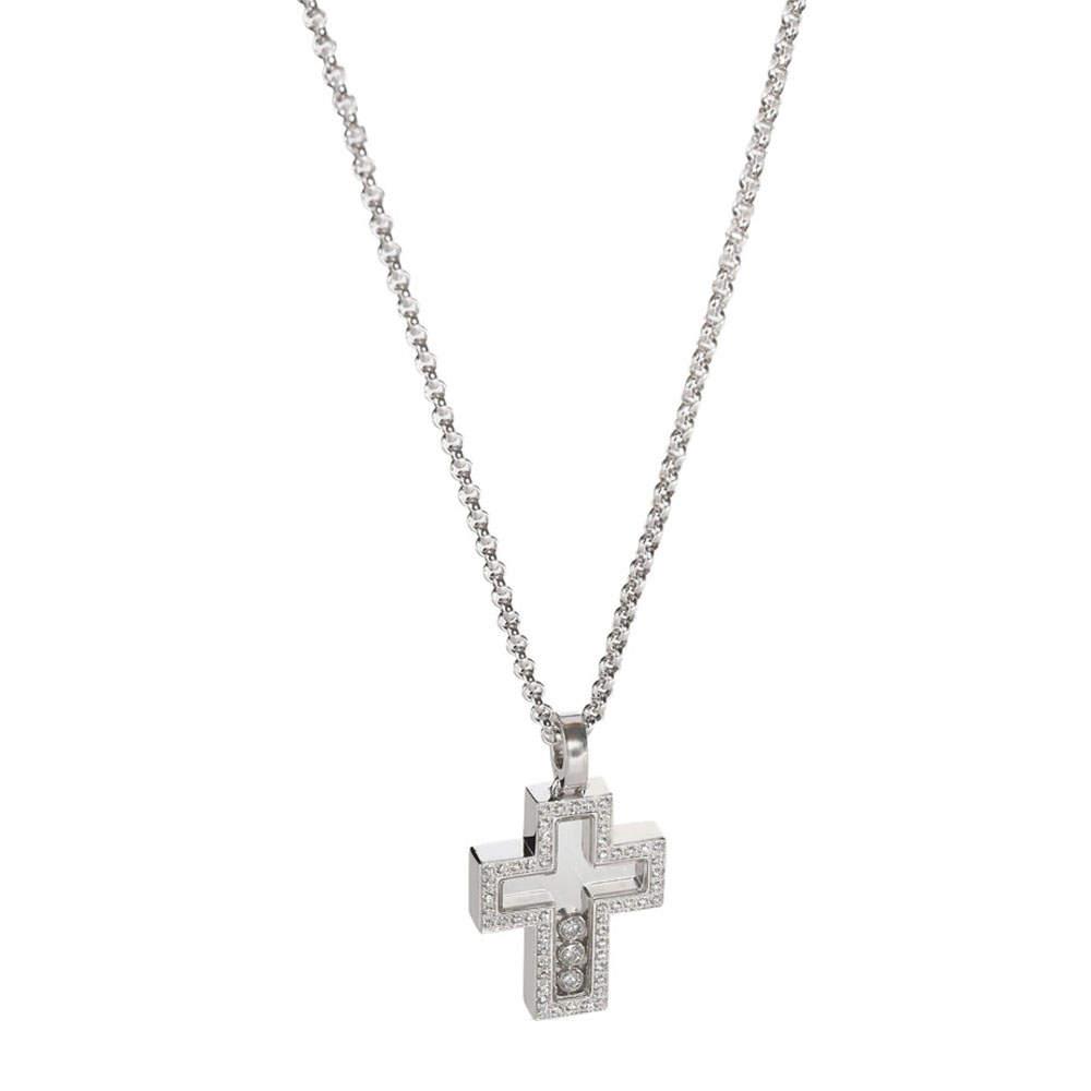 Chopard 18K White Gold Happy 0.44 CTW Diamonds Cross Necklace