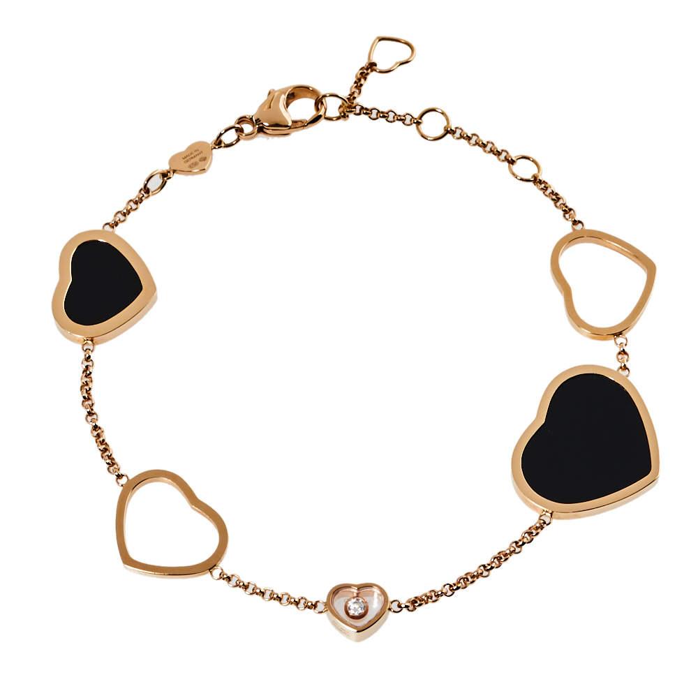 Chopard Happy Hearts Diamond Onyx 18K Rose Gold Bracelet