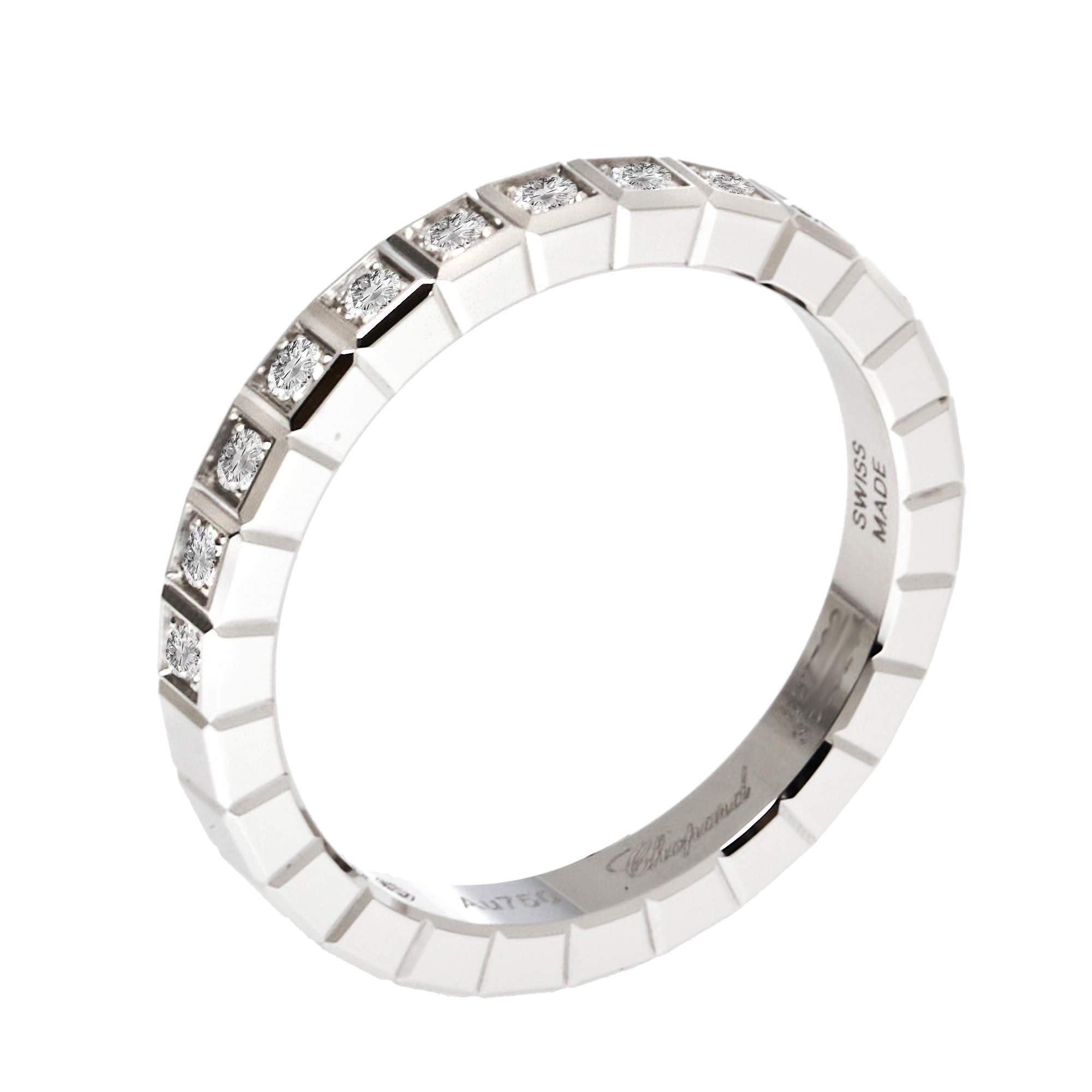 Chopard Ice Cube Pure 18K White Gold Half-Set Diamond Ring Size 47