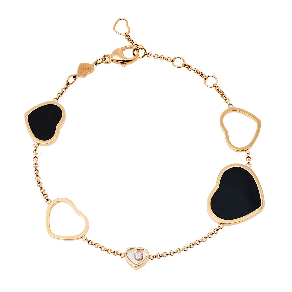 Chopard Happy Hearts Diamond Onyx 18K Rose Gold Bracelet