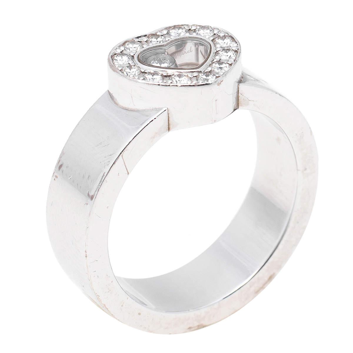 Chopard Happy Diamonds Heart 18K White Gold Band Ring Size 53