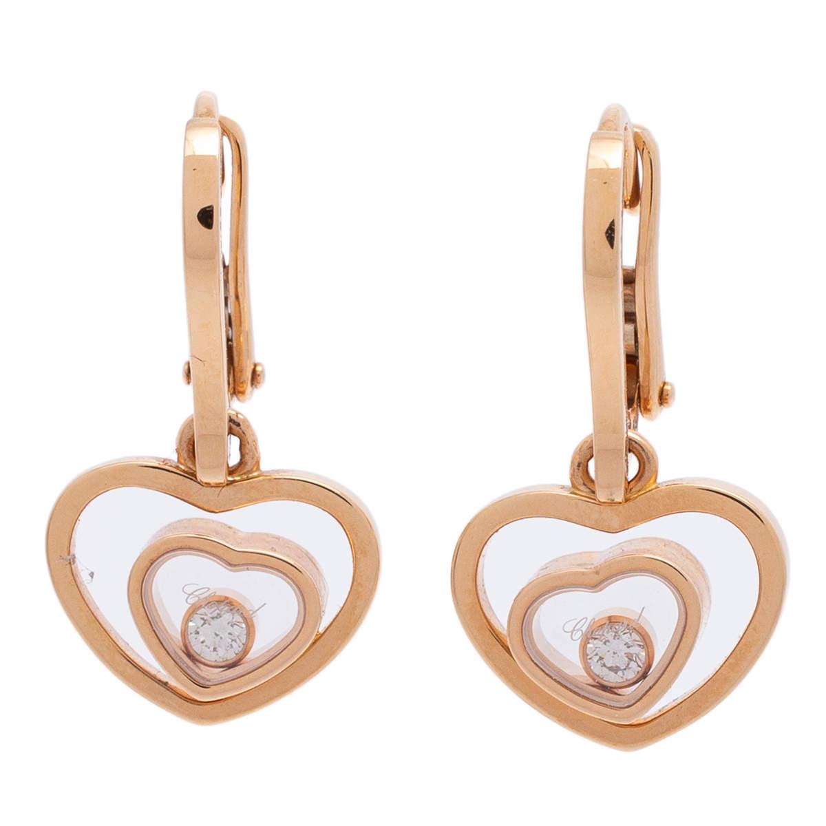 Chopard Happy Hearts 18K Rose Gold Diamond Drop Earrings