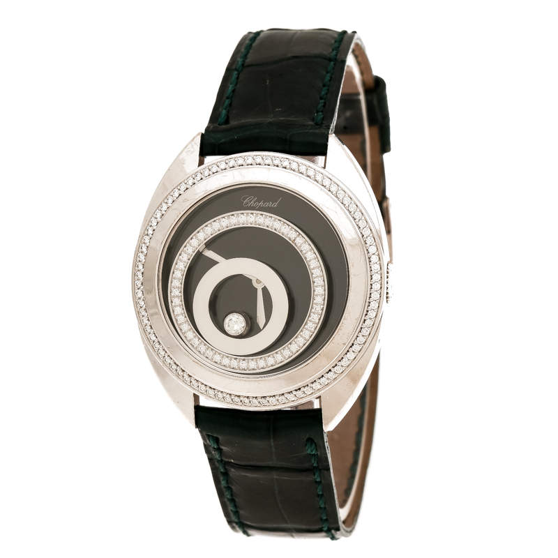 Chopard Black 18K White Gold Diamonds Happy Spirit 20/7082-20 Women's Wristwatch 32 mm