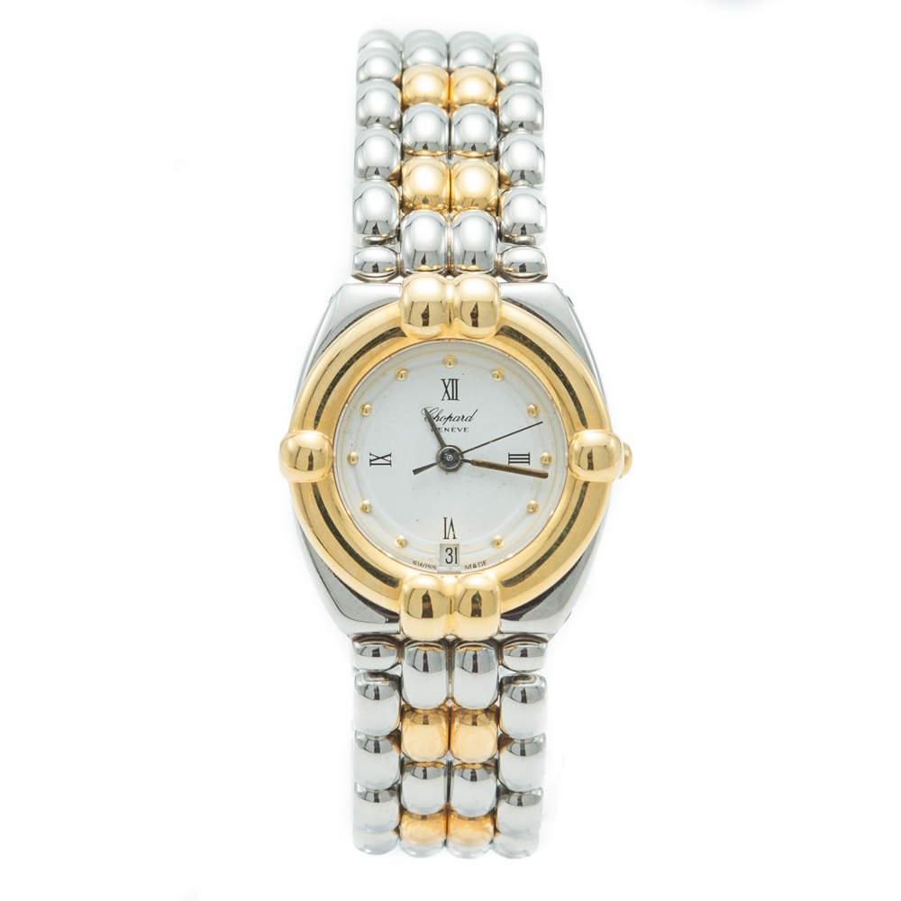 """ساعة يد نسائية شوبارد """"جي أس تي ايه ايه دي"""" فينتدج ستانلس ستيل و ذهب أصفر مينا بيضاء 24 مم"""