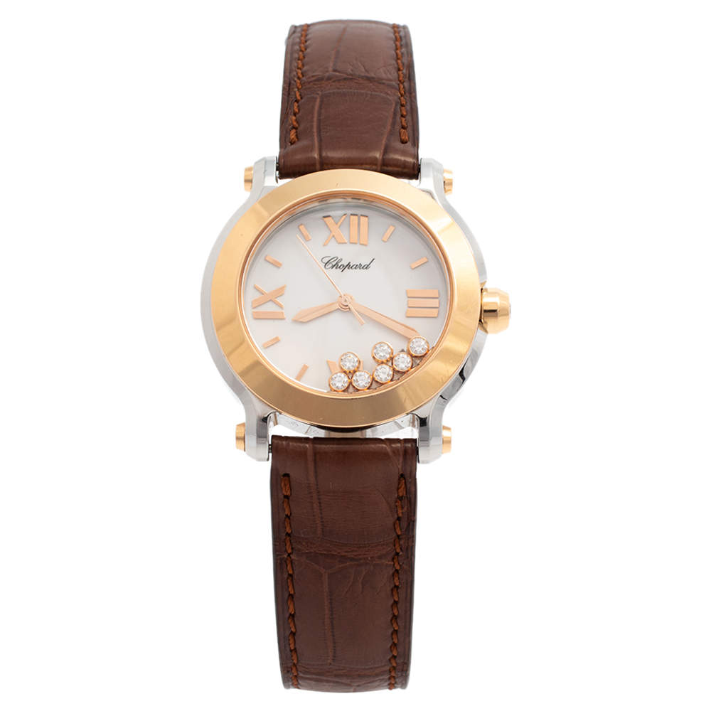 Chopard White 18K Rose Gold & Stainless Steel Happy Sport 278492 Women's Wristwatch 36 mm