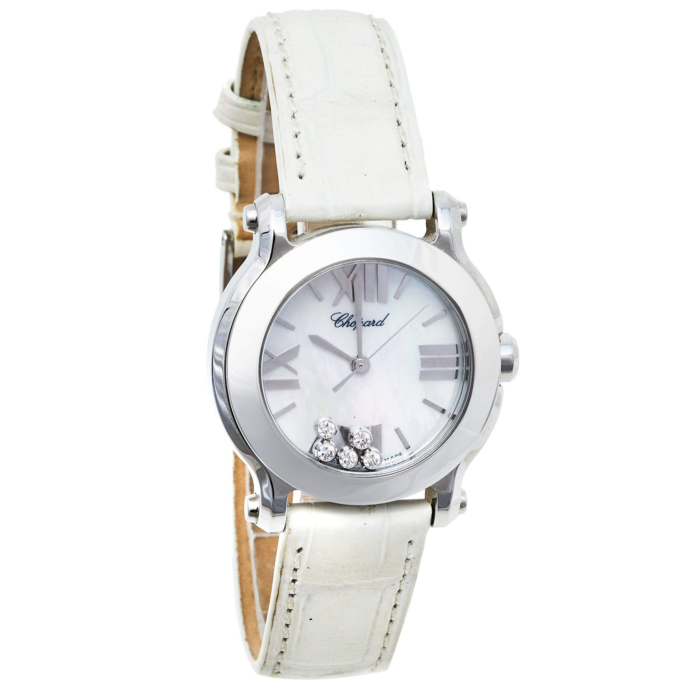 Chopard Mother of Pearl Stainless Steel and Leather Happy Sport 8509 Women's Wristwatch 30mm