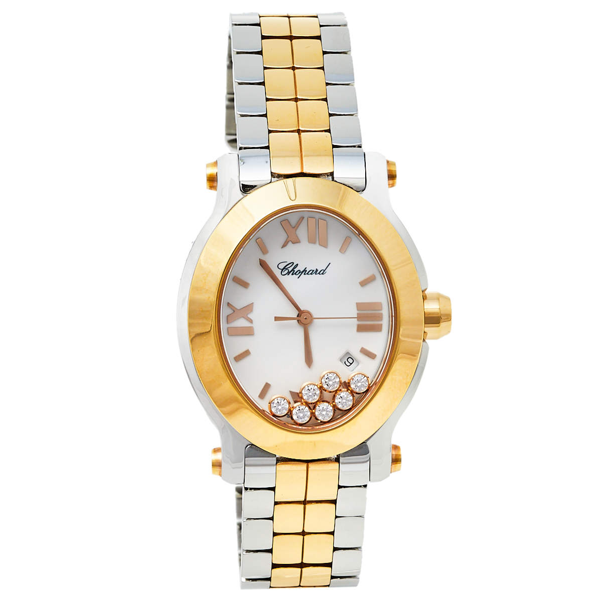 Chopard White 18K Rose Gold and Stainless Steel Happy Sport 8546 Women's Wristwatch 30.75mm X 33.6mm