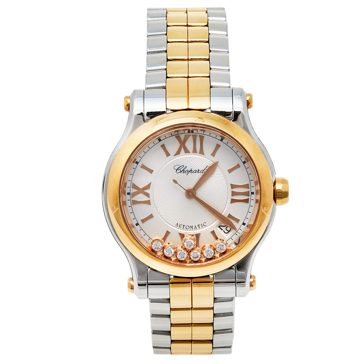 Chopard Silver 18K Rose Gold and Stainless Steel Happy Sport 8559 Women's Wristwatch 36mm