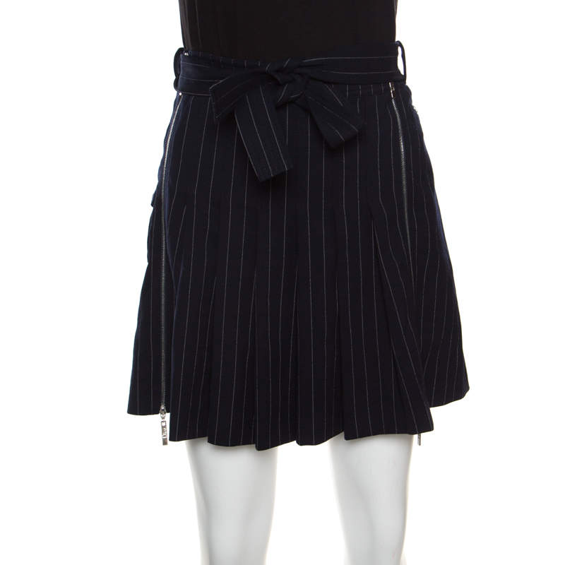 Christian Dior Boutique Navy Blue Striped Wool Pleated Mini Skirt M