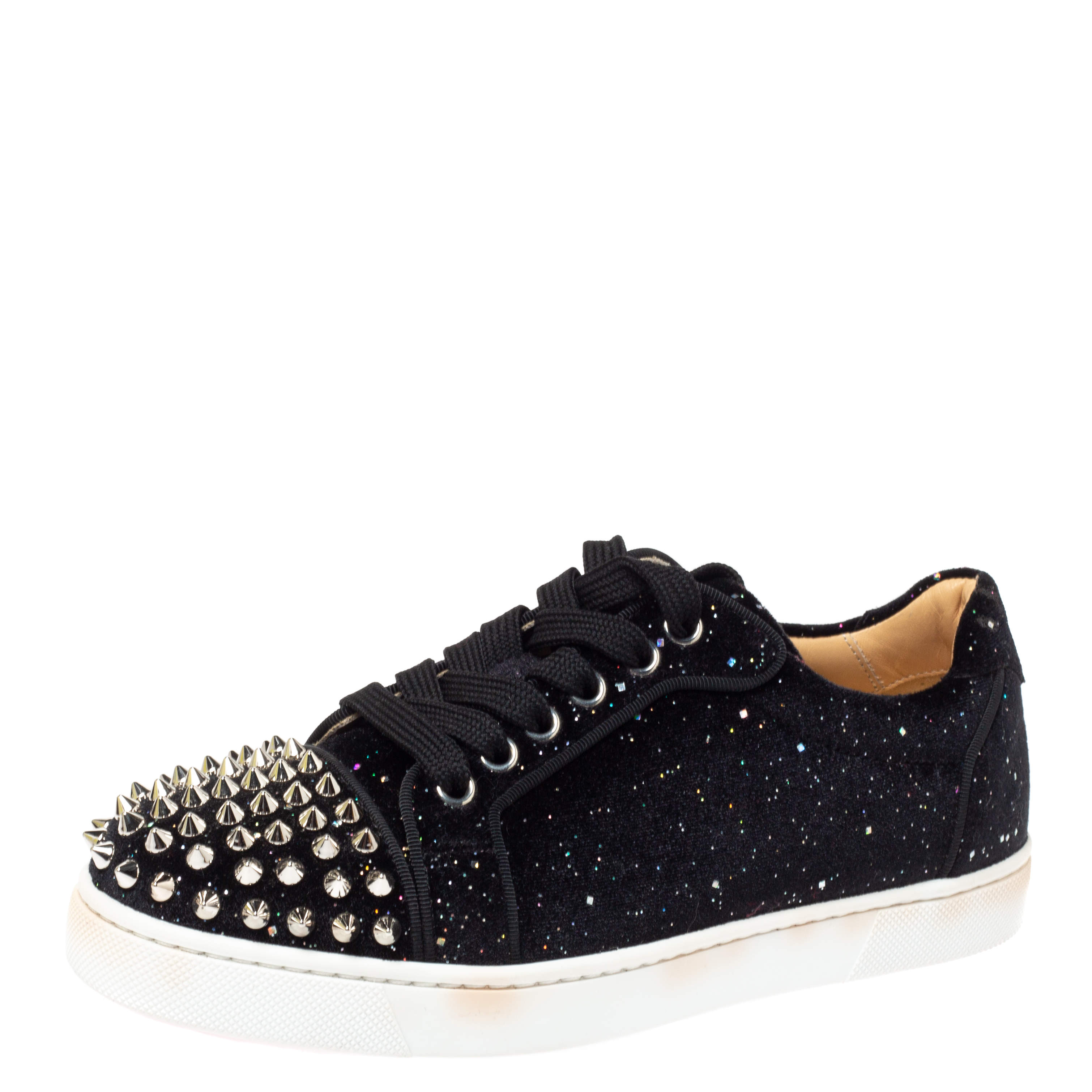 Christian Louboutin Black Glitter Suede Louis Junior Spikes Low Top Sneakers Size 35