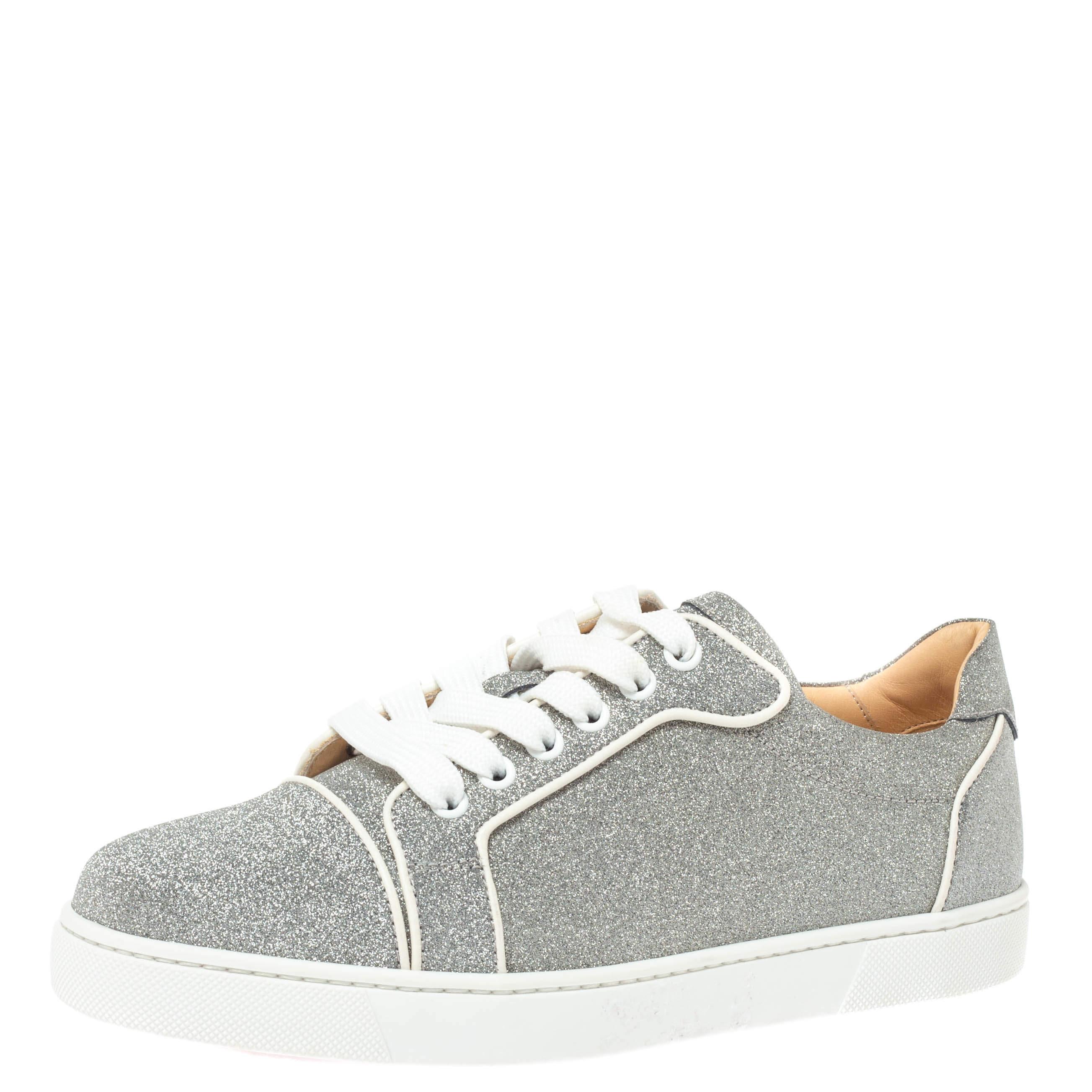 Christian Louboutin Silver Glitter Gondoliere Orlato Low Top Sneakers Size 38