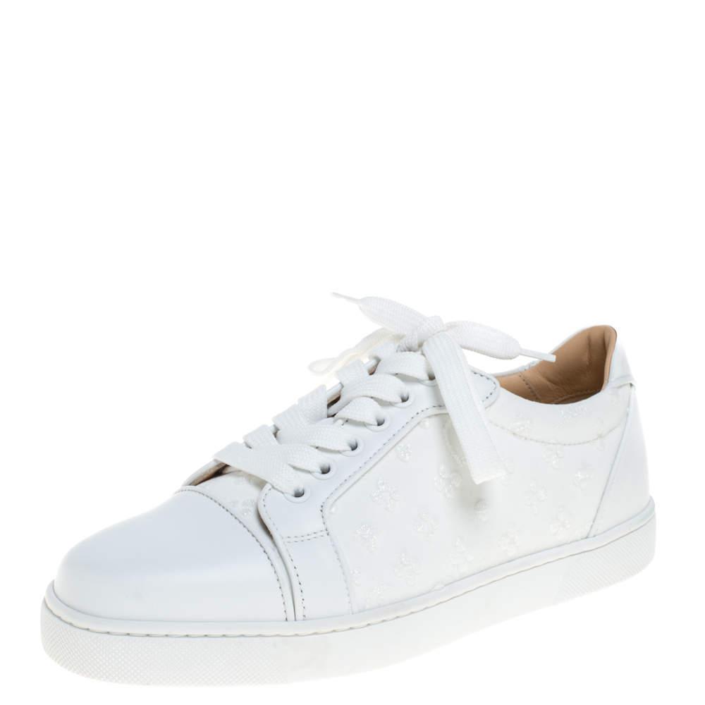 Christian Louboutin White Leather Vieira Orlato Low Top Sneakers Size 36