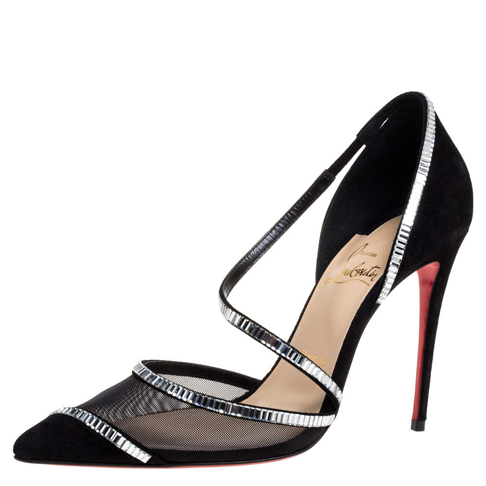 Christian Louboutin Black Mesh And Suede Chiara Crystal Embellished Pumps Size 37