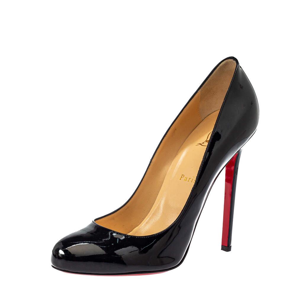 حذاء كعب عالى كريستيان لوبوتان سيمبل جلد لامع أسود مقاس 40.5