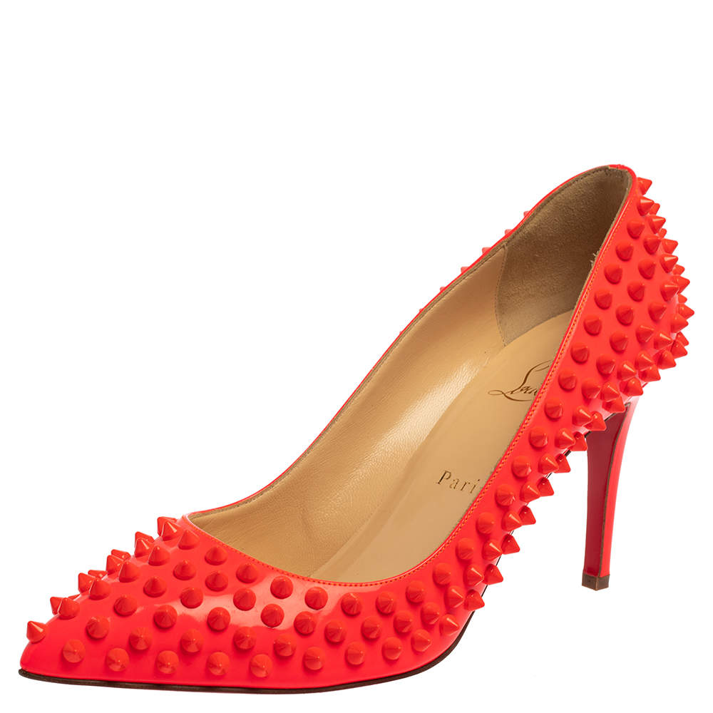 Christian Louboutin Orange Patent Leather Pigalle Spike Pumps Size 39.5