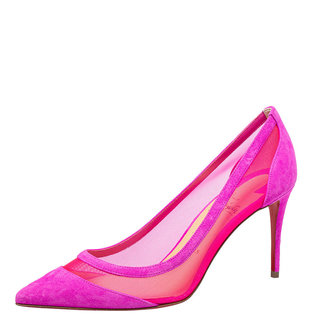Christian Louboutin Purple/Pink Suede And Mesh Galativi Pumps Size 38