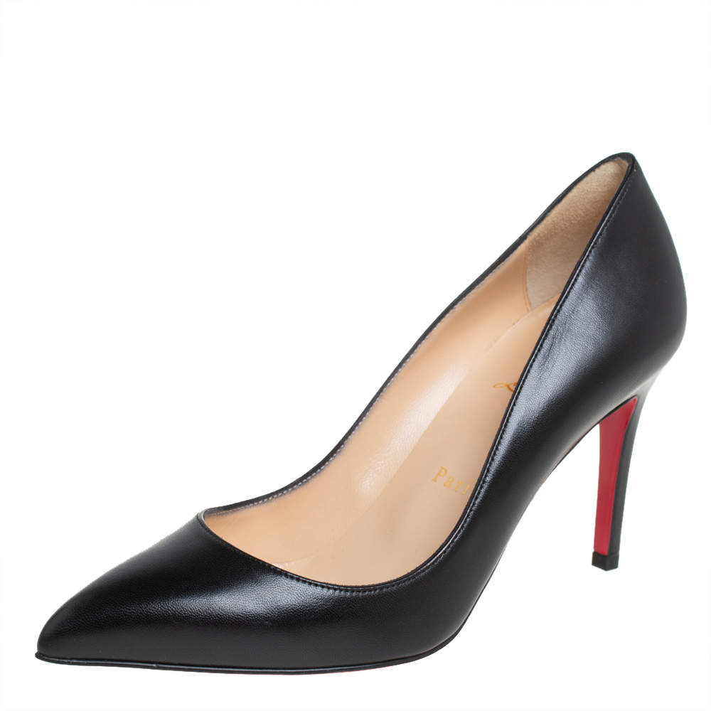 Christian Louboutin Black Leather Pigalle Pointed Toe Pumps Size 37