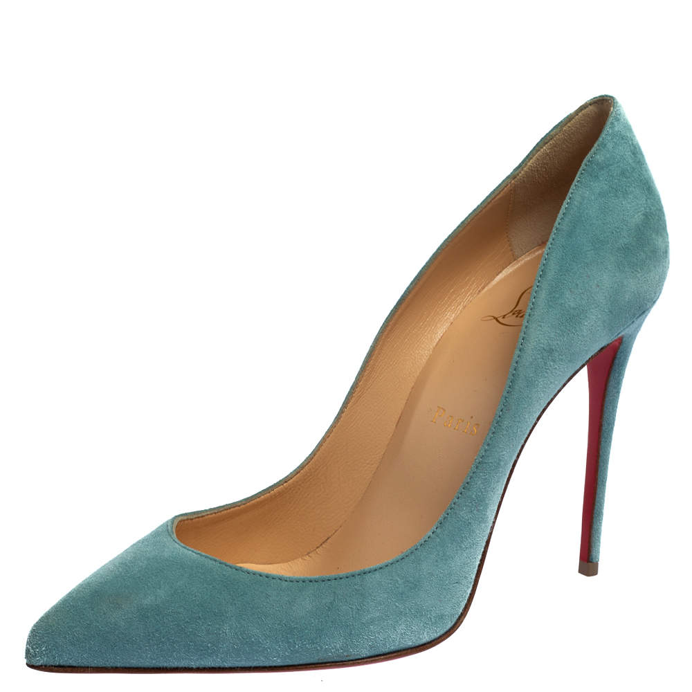 Christian Louboutin Blue Suede Pigalle Follies Pumps Size 38.5