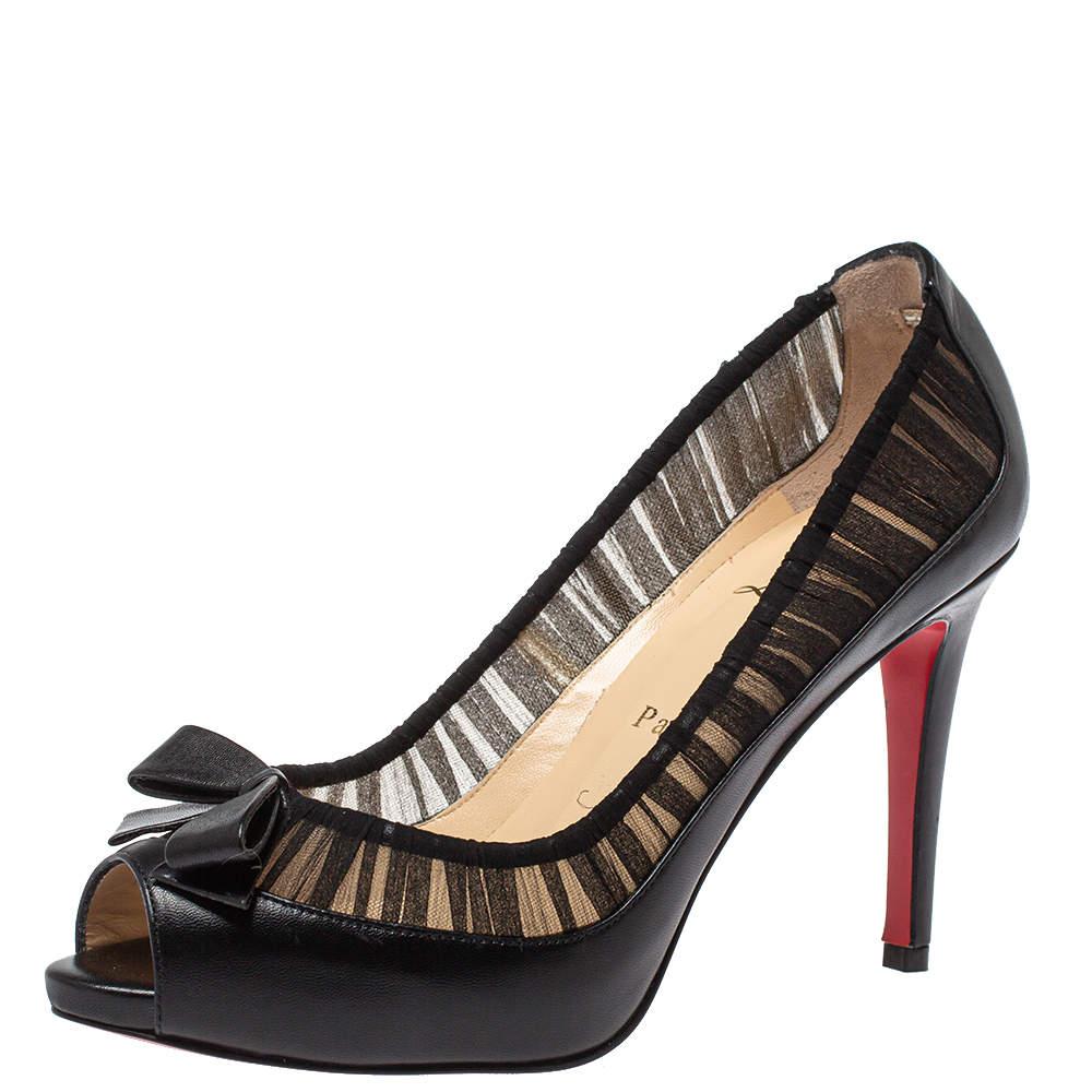 حذاء كعب عالى كريستيان لوبوتان أنجليكا جلد وقماش أسود مقاس 37.5