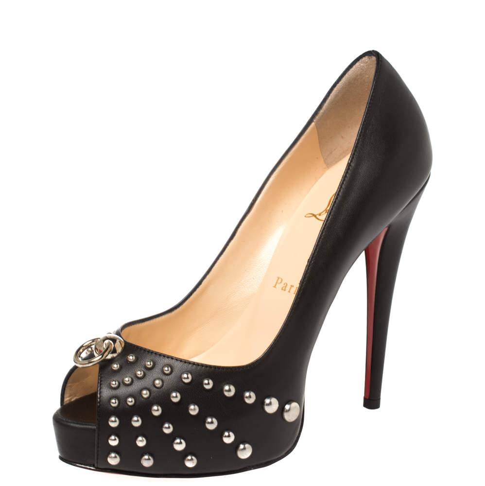Christian Louboutin Black Leather Vendo Knock Studded Platform Peep Toe Pumps Size 38.5