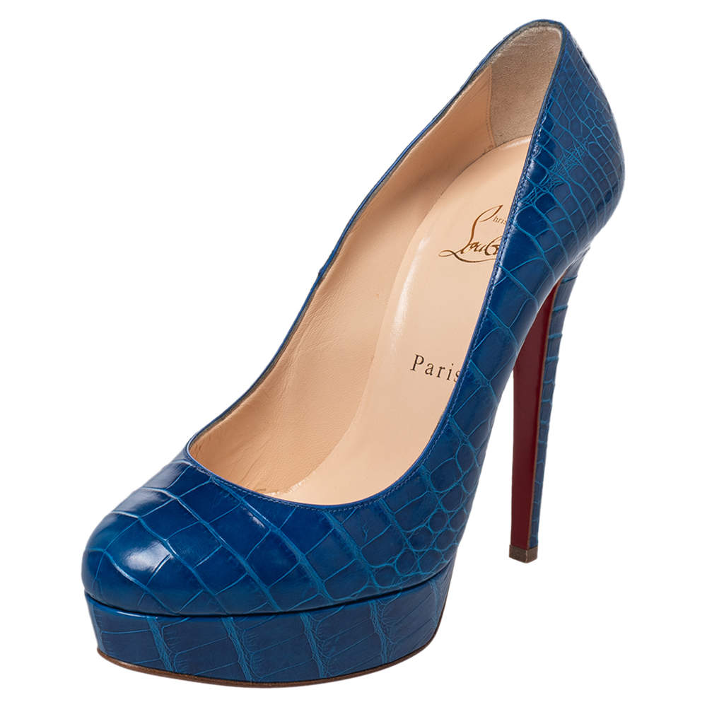 Christian Louboutin Blue Alligator Leather Bianca Platform Pumps Size 39
