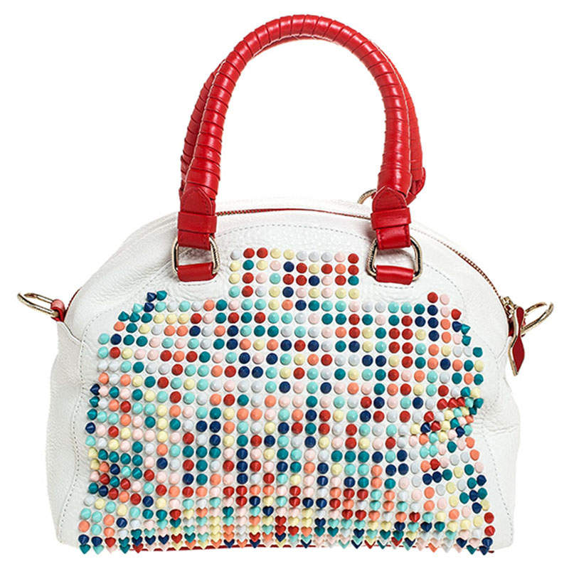 Christian Loboutin White/Red Leather Studded Panettone Satchel
