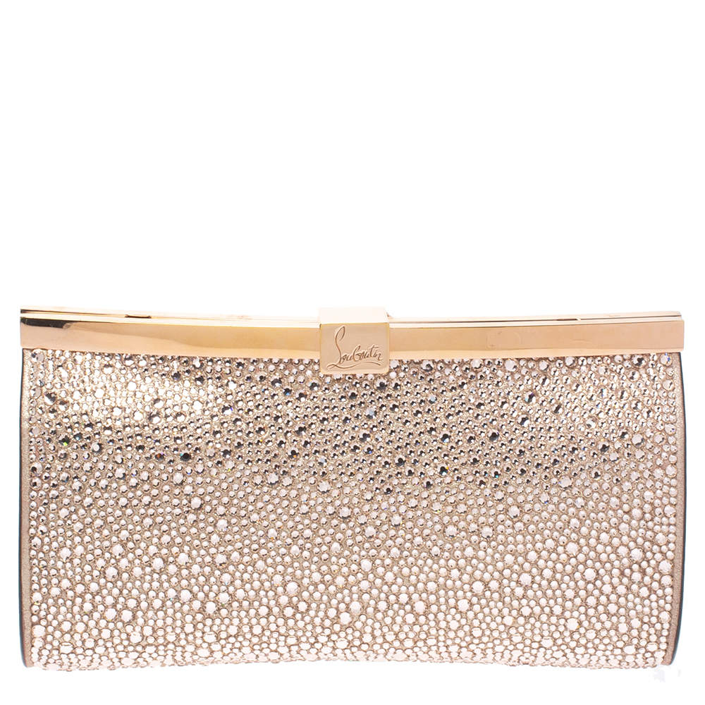 Christian Louboutin Metallic Rose Gold Leather Crystal Embellished Palmette Clutch