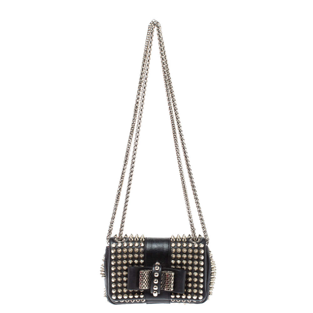 Christian Louboutin Back Leather Mini Spiked Sweet Charity Crossbody Bag