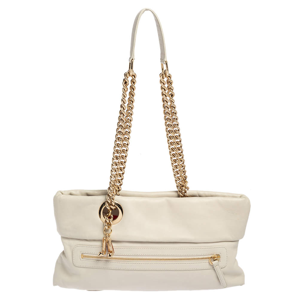 Christian Louboutin Off White Leather Chain Tote