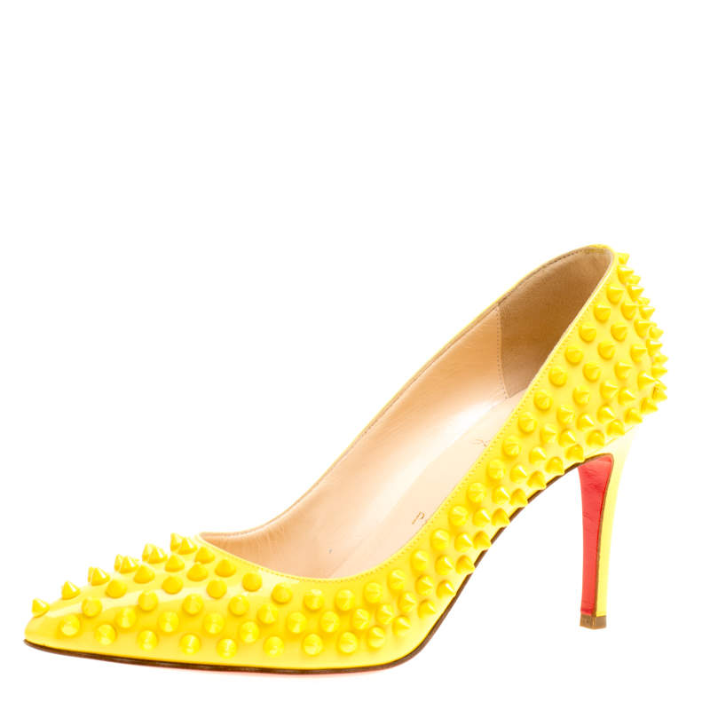 Christian Louboutin Canary Yellow Patent Leather Pigalle Spikes Pumps Size 37.5