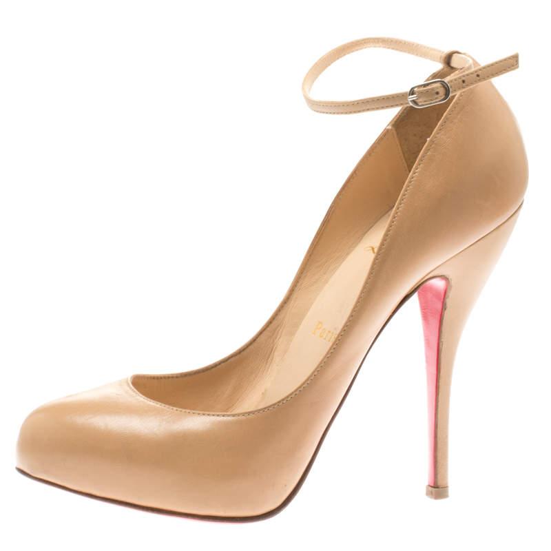Christian Louboutin Beige Patent Leather Ankle Strap Platform Pumps Size 37.5