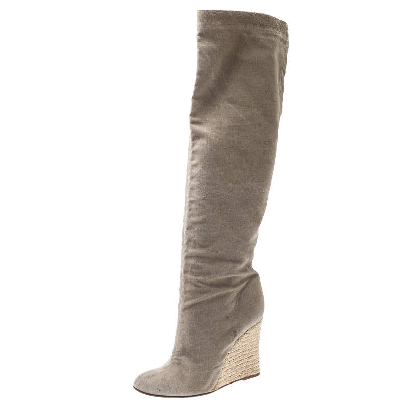 Christian Louboutin Beige Jessica Canvas Espadrille Boots Size 39