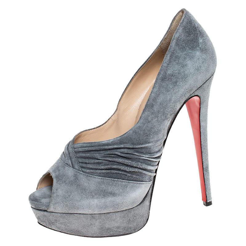 Christian Louboutin Grey Suede Ruched Detail Drapadita Platform Peep Toe Pumps Size 38