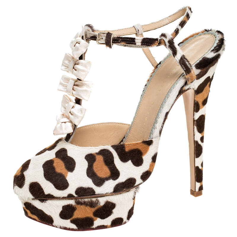 Charlotte Olympia Brown/White Leopard Print Calfhair and Satin Bow T-Strap Platform Sandals Size 39