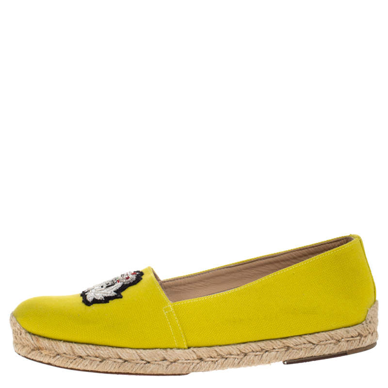 Christian Louboutin Yellow Canvas Gala Embroidered Crest Espadrille Loafers Side 38