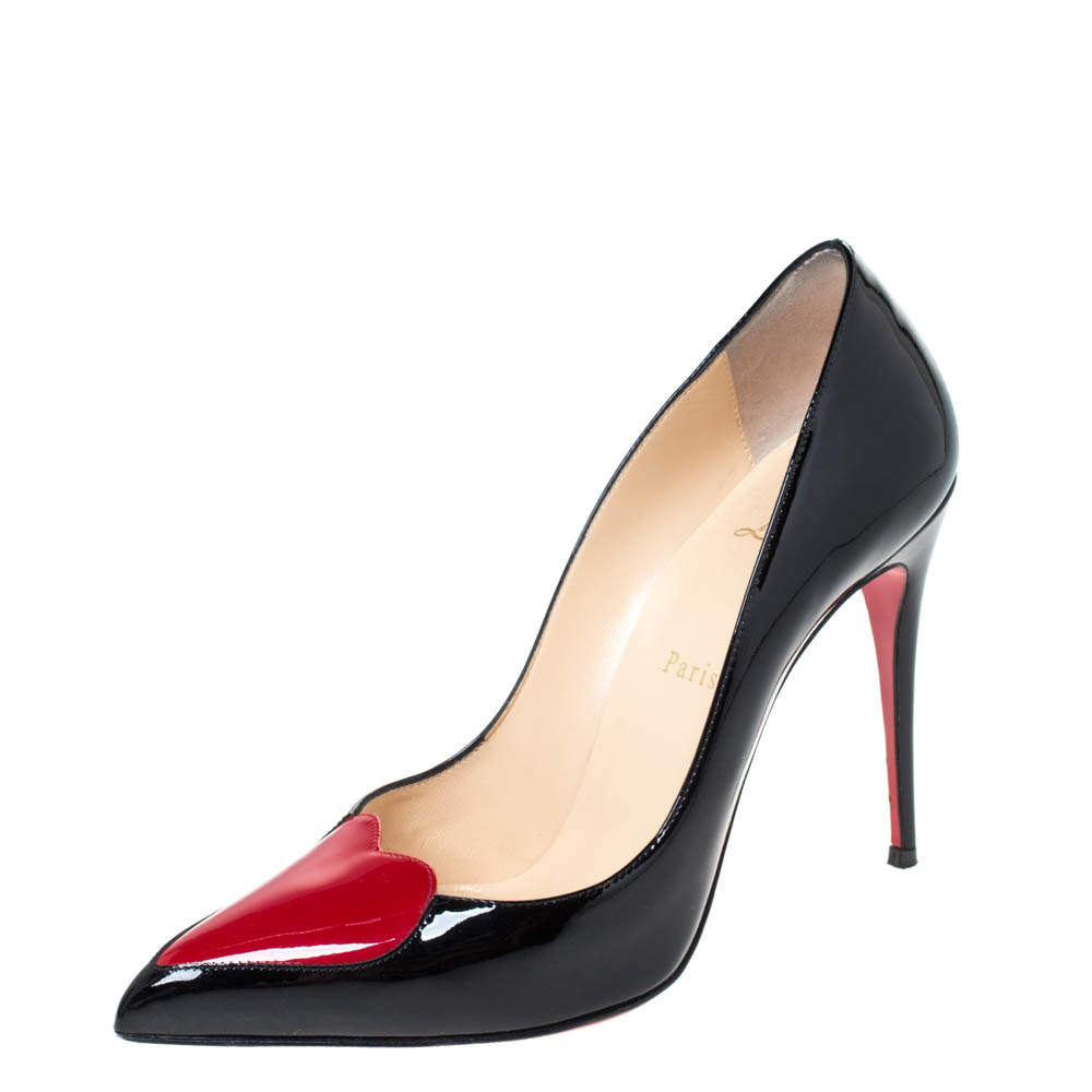 Christian Louboutin Black Patent Leather Doracora Red Heart Pumps Size 38.5