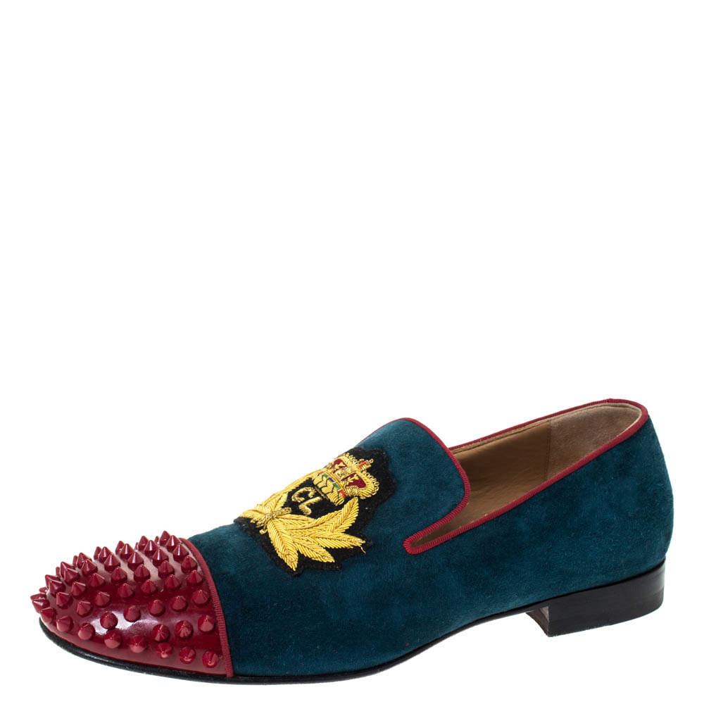 حذاء سليبرز كريستيان لوبوتان هارفانانا  سموكينغ غطاء مقدمة سبايكد جلد لامع وسويدى أحمر/ أزرق أسود مقاس 40