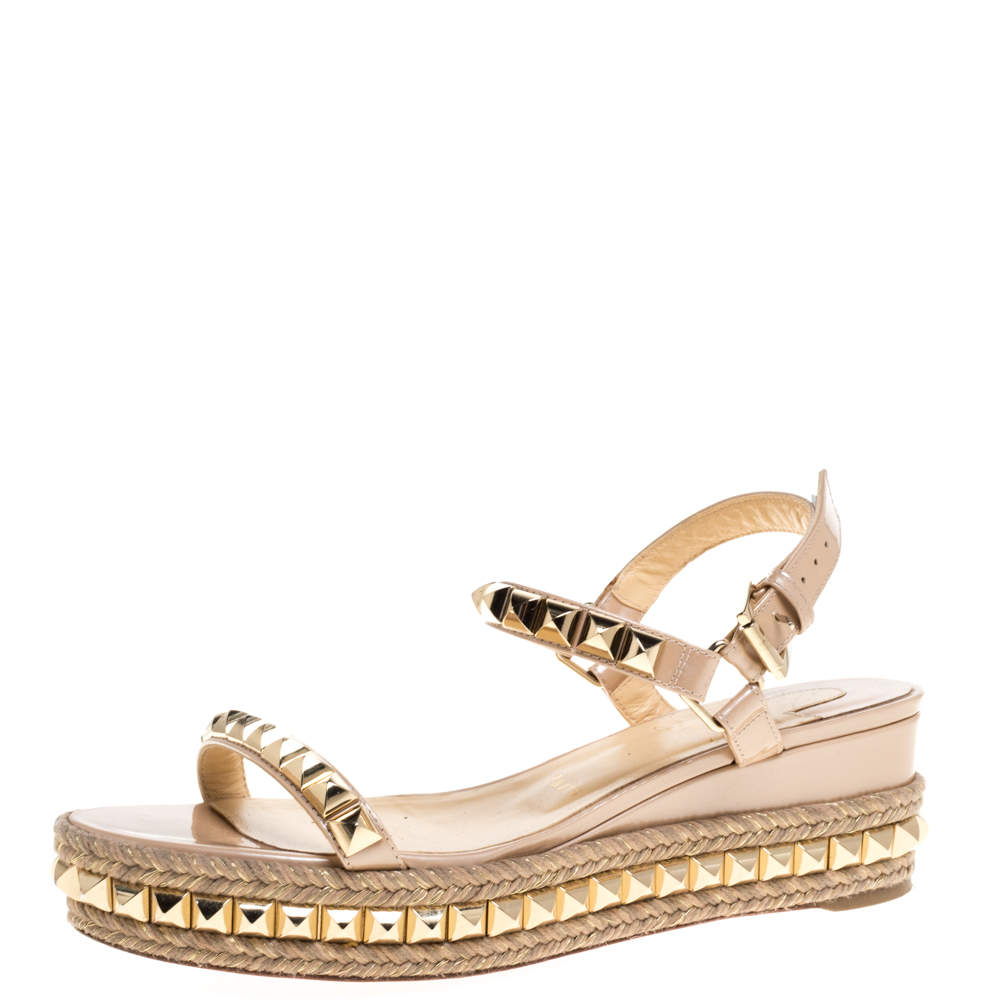 Christian Louboutin Beige Patent And Gold Studded Leather Cataclou Espadrille Wedge Sandals Size 39