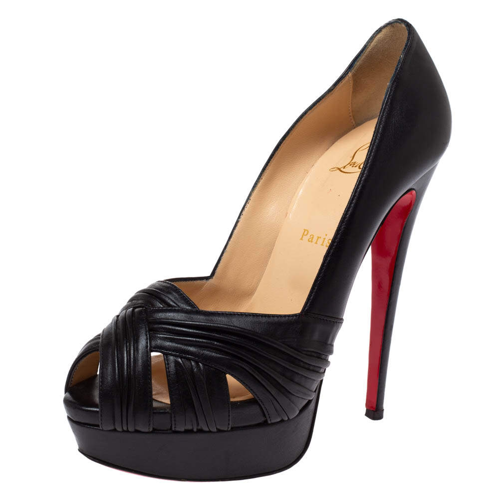 Christian Louboutin Black Leather Criss Cross Strap Peep Toe Platform Pumps Size 39.5