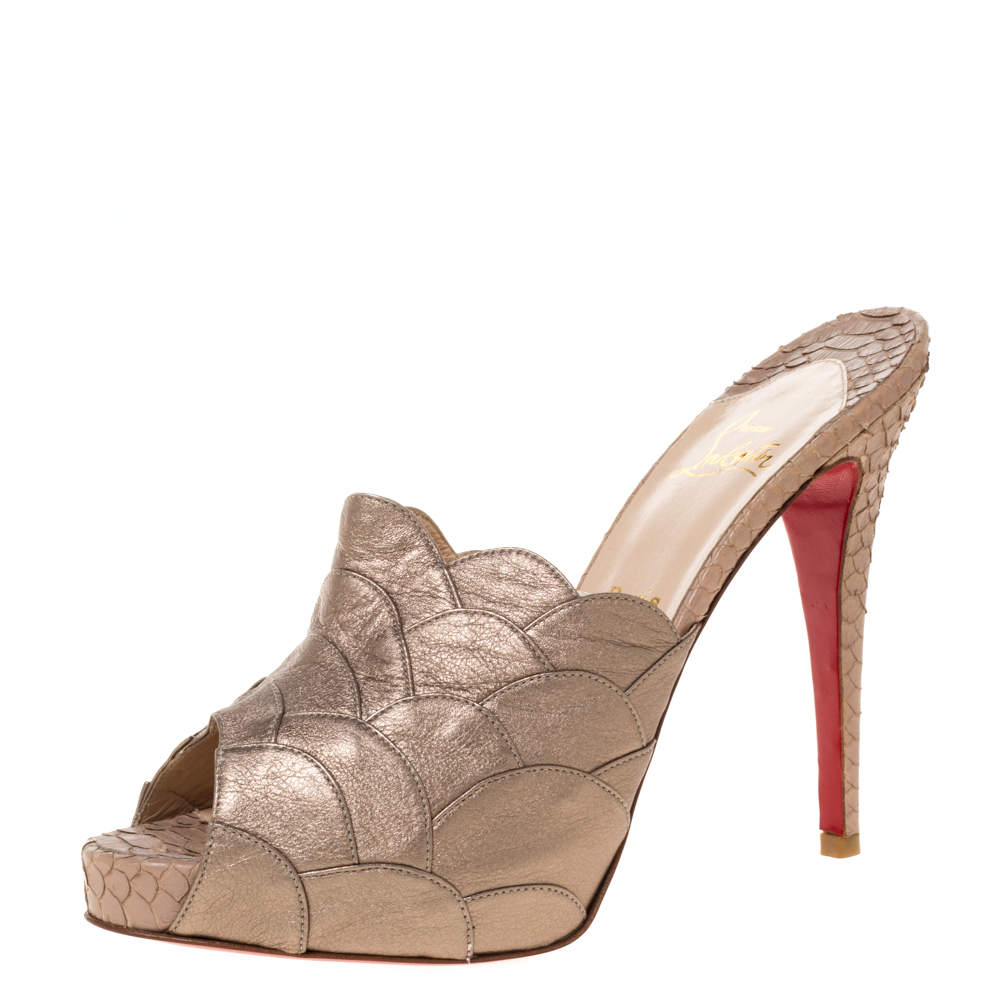 Christian Louboutin Gold Scalloped Detail Leather And Python Peep Toe Mule Sandals Size 39.5