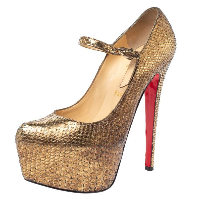 Christian Louboutin Metallic Gold Python Lady Daf Mary Jane Platform Pumps Size 37.5